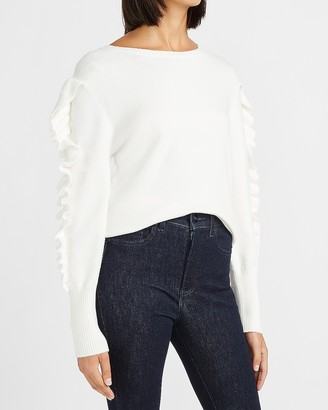 Express Skimming Ruffle Sleeve Crew Neck Sweater