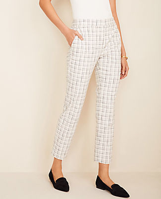 Ann Taylor The Petite High Waist Ankle Pant in Plaid Tweed - Curvy Fit