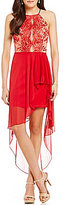 Teeze Me Embroidered Sequin Scalloped High-Low-Hem Sheath Dress