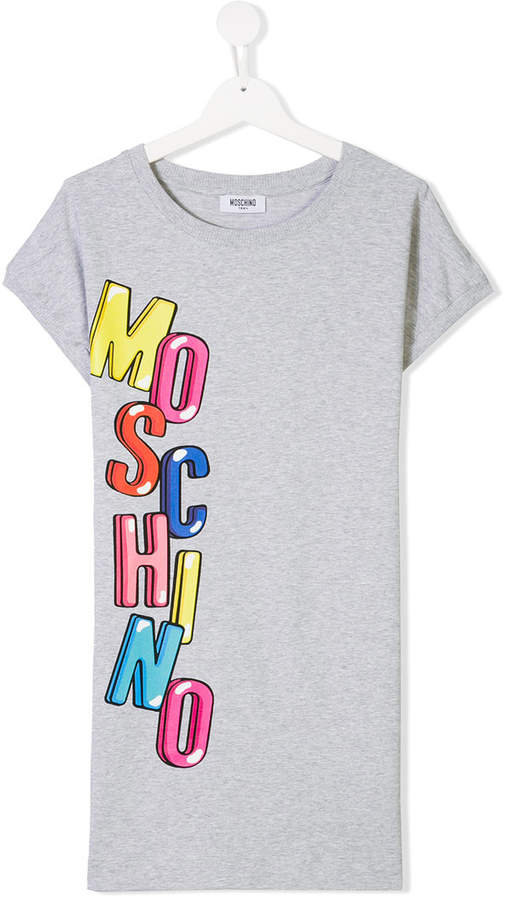Moschino Kids logo printed T-shirt dress