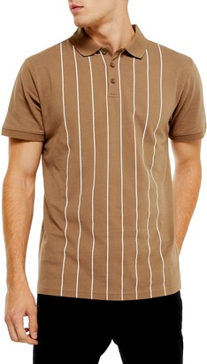 Topman Classic Fit Pinstripe Pique Polo