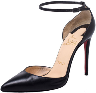 Christian Louboutin Black Leather Uptown Ankle Strap Pointed Toe D'orsay Sandals Size 35.5