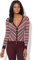 New York & Co. 7th Avenue Design Studio - V-Neck Chelsea Cardigan - Lurex Chevron