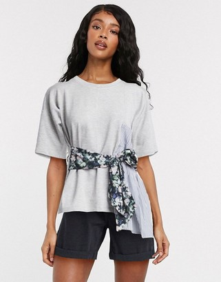 French Connection tie waist t-shirt in grey