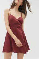 Urban Outfitters Kiki Satin Surplice Mini Dress