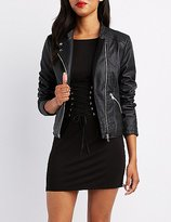 Charlotte Russe Faux Leather Quilted Moto Jacket