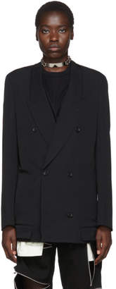 Comme des Garcons Black Wool Double-Breasted Blazer