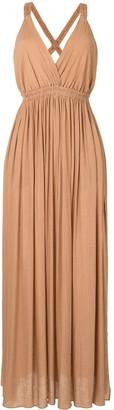 Matteau Plunge-Neck Crepeon Maxi Dress