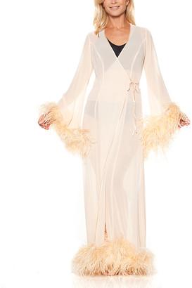 Ahh By Rhonda Shear Women's Nightgowns Peach - Peach Ostrich Feather-Trim Robe - Women