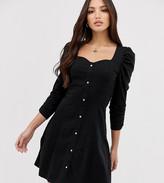 Asos Tall DESIGN tall long sleeve popper front tea dress