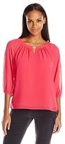 Calvin Klein Women's Chiffon Top Withith Hardware