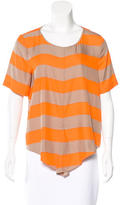Tibi Short Sleeve Striped Top