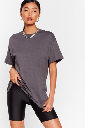 Nasty Gal Womens Get Back to Basics Crew Neck Fitted Tee - Charcoal