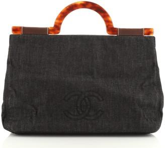 Chanel Vintage CC Resin Top Handle Bag Denim Large