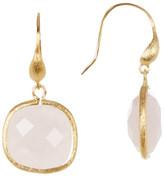 Rivka Friedman 18K Gold Clad Faceted Rose Quartz Cushion Shape Dangle Earrings