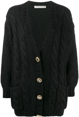 Alessandra Rich Long Sleeve Cable Knit Cardigan