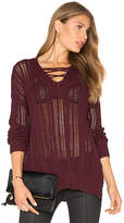 Michael Stars V Neck Lace Up Tunic in Wine. - size S (also in )