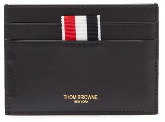 Thom Browne Tricolour-trimmed Textured-leather Card Holder - Black