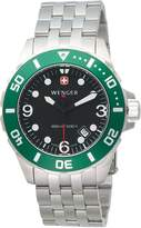 Wenger Men's Aquagraph Large Divers Watch 72227 With Chunky Steel Bracelet , Dial and Green Rotating Bezel