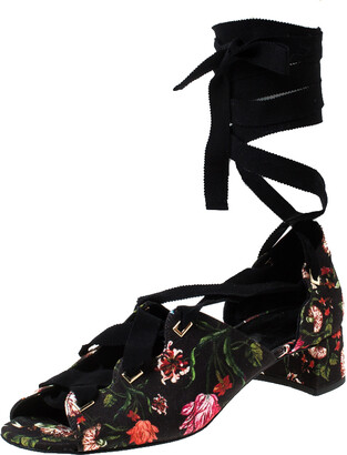 Erdem Black Floral Canvas Cut Out Lace Up Sandals Size 38
