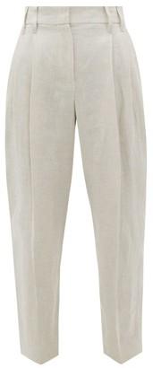 Brunello Cucinelli High-rise Linen Trousers - Womens - Light Beige