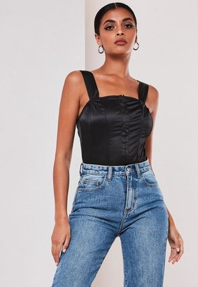 Missguided Black Satin Wide Strap Corset Top