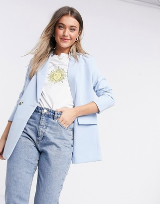 New Look double breasted blazer in light blue