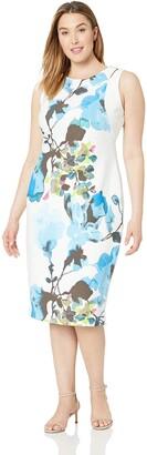 Gabby Skye Women's Plus Size Sleeveless Round Neck Midi Sheath Dress