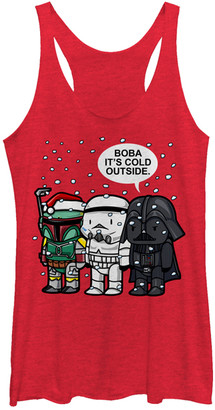 Fifth Sun Women's Tank Tops RED - Star Wars Heather Red 'Boba It's Cold' Racerback Tank - Juniors