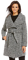 GUESS Asymmetrical Faux Wool Tweed Trench Wrap