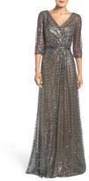 La Femme Sequin Mesh Gown