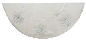 Kurt Adler 54-Inch Ivory Tree skirt with Crystal Lace Snowflakes