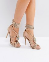 Forever Unique Multi Strap Embellished Heeled Sandal with Snake Contrast