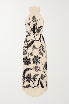 Johanna Ortiz Ancient Dynasty Embroidered Silk Crepe De Chine Halterneck Maxi Dress - Ivory