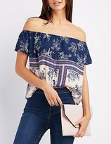 Charlotte Russe Printed Off-The-Shoulder Button Top