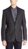 DKNY Men's Druce Herringbone 2 Button Slim Fit Sport Coat, Grey, 40/Regular