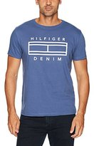 Tommy Hilfiger Men's Logo T-Shirt Outline Flag With Short Sleeves