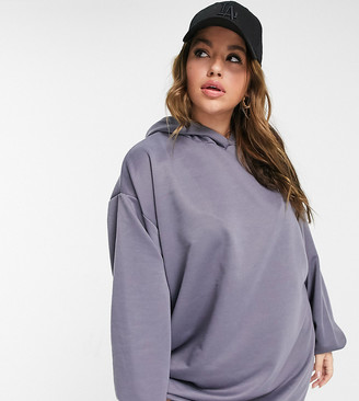 ASOS DESIGN Curve oversized mini sweatshirt hoodie dress in slate grey