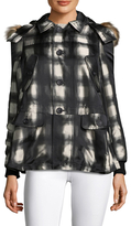 RED Valentino Checked Faux Fur Trim Coat