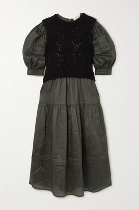 Sea Layered Pointelle-knit And Tiered Ramie Midi Dress - Dark green