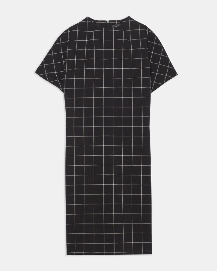 Theory Dolman-Sleeve Shift Dress in Grid Ponte