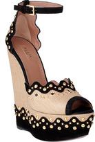 Azzedine Alaia Alaïa Studded raffia sandal wedge