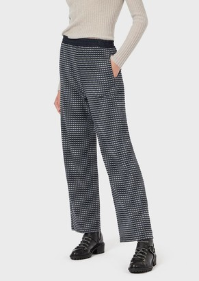 Emporio Armani Jacquard Gingham Trousers With Elasticated Waist