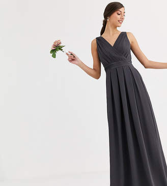 TFNC Tall Tall Bridesmaid maxi dress with satin bow back in grey