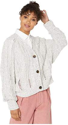 Cupcakes And Cashmere Venice Marled Cable Knit Raglan Dolman Button Up Cardi (Oatmeal) Women's Sweater