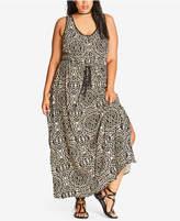 City Chic Trendy Plus Size Drawstring-Waist Maxi Dress