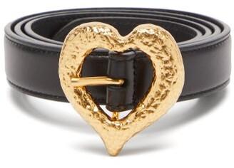 Saint Laurent Hammered-heart Leather Belt - Black