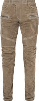 Balmain biker trousers - men - Cotton/Lamb Skin - 46