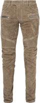 Balmain biker trousers - men - Cotton/Lamb Skin - 46