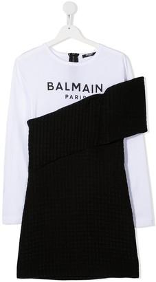 Balmain Kids TEEN logo-print contrast dress